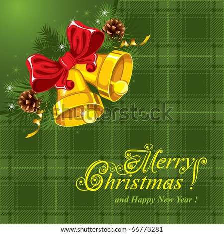 Christmas background with gold bells and a checkered cloth (tartan) - stock vector