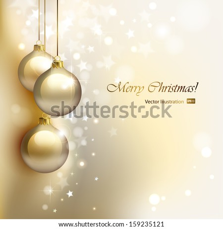 Christmas background with gold evening balls  - stock vector