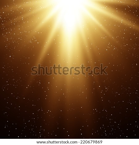 Christmas background with gold magic light - stock vector
