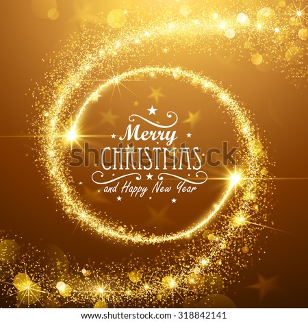 Christmas background with gold magic stars. Vector illustration - stock vector