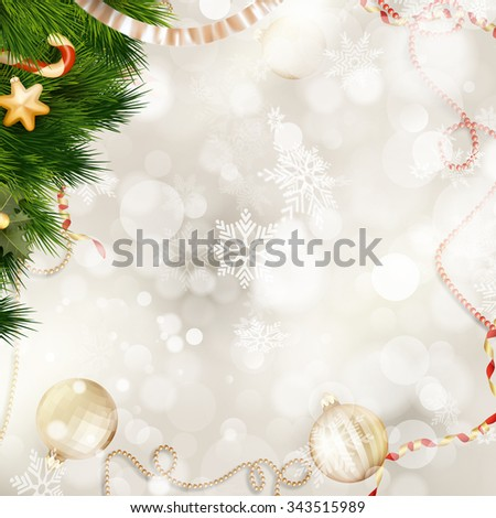 Christmas background with golden baubles. EPS 10 vector file included