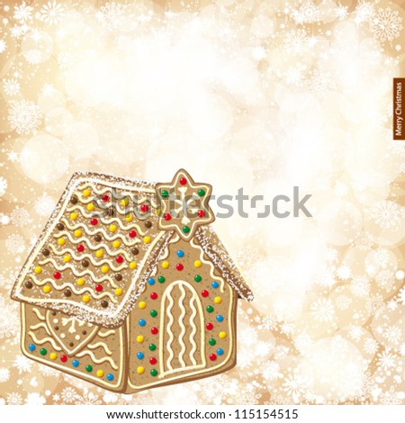 Christmas background with golden lights and gingerbread house. - stock vector
