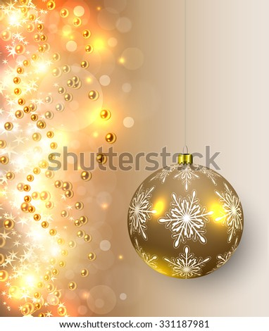 Christmas background with golden lights, balls and magic sparkles, vector illustration. - stock vector