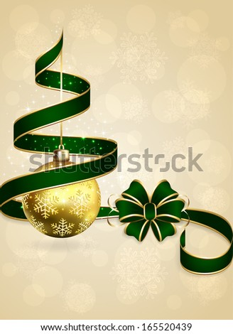 Christmas background with green bow, ribbon and golden balls, illustration. - stock vector