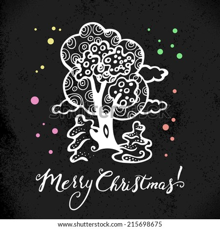 Christmas background with hand drawn sketch illustration. Happy New Year card. Vector design - stock vector
