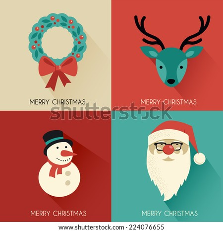 Christmas background with Hipster Santa and speech bubble - stock vector