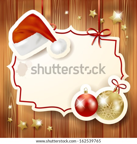 Christmas background with label and hat, vector  - stock vector