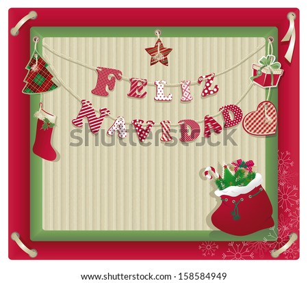 Christmas background with letter on recycled kraft paper. - stock vector