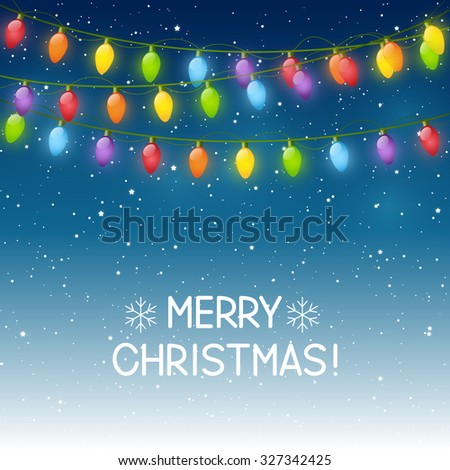Christmas background with light bulbs