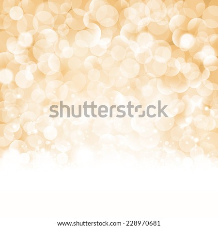 Christmas background with light effects and blurry light dots in shades of beige, golden and white. Centered is a label with the lettering Merry Christmas and Happy New Year. - stock vector