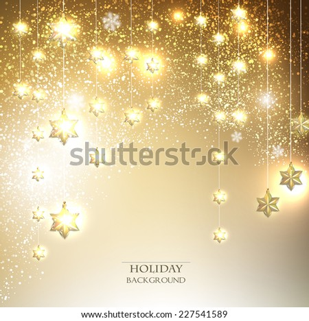 Christmas  background with luminous garland with stars. Vector illustration - stock vector