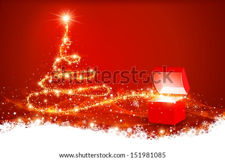 Christmas background with magic box - stock vector