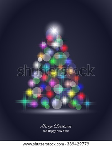 Christmas Background with magic Christmas tree - stock vector