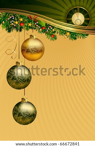 Christmas background with midnight clock - stock vector