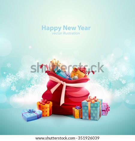 Christmas background with open bag of Santa Claus - stock vector
