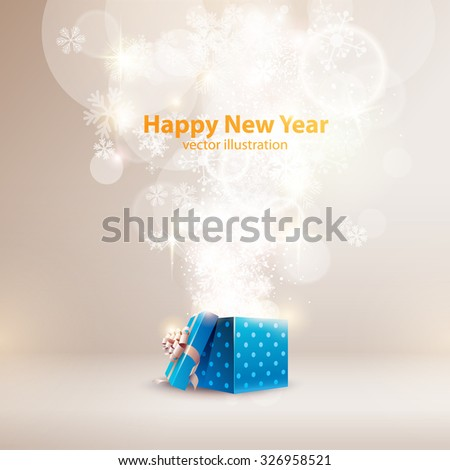 Christmas background with open gift box. - stock vector