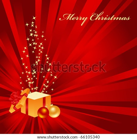 Christmas background with open gift. Vector illustration.