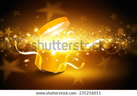 Christmas background with open golden box with stars and confetti - stock vector