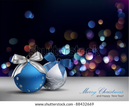 Christmas Background with ornaments and blurred lights. Vector Illustration. - stock vector