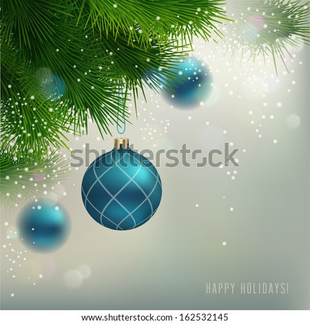 Christmas Background with ornaments and Christmas fir tree - stock vector