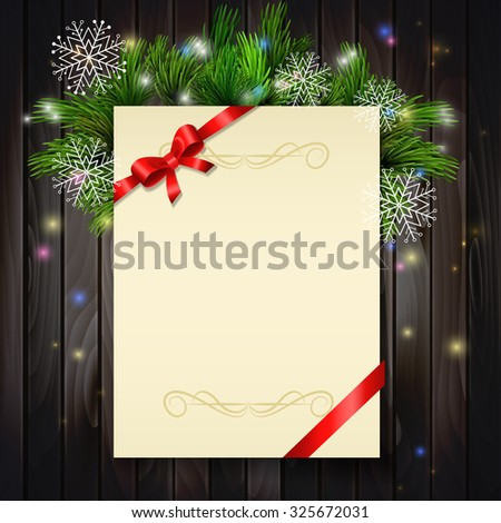 Christmas background with paper ribbon and lights on a wood walland snowflakes