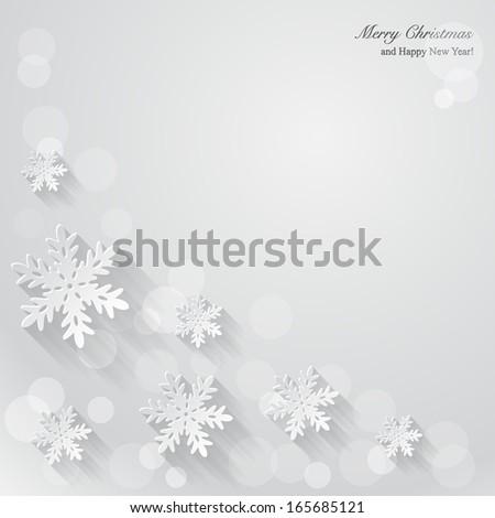 Christmas background with paper snowflakes. - stock vector