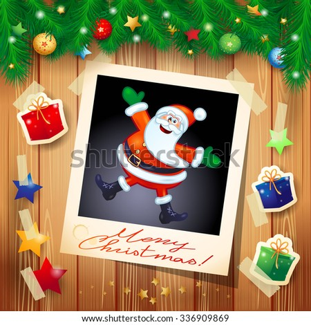 Christmas background with photo of happy Santa Claus, vector illustration  - stock vector