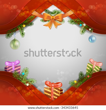 Christmas background with pine tree and gift box - stock vector