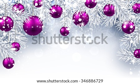 Christmas background with purple balls. Vector paper illustration. - stock vector