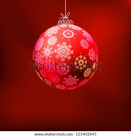 Christmas background with red ball. And also includes EPS 8 vector - stock vector