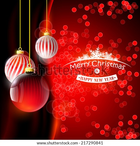 Christmas background with red balls - stock vector