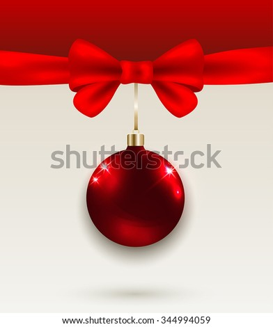 Christmas background with red bow and decoration