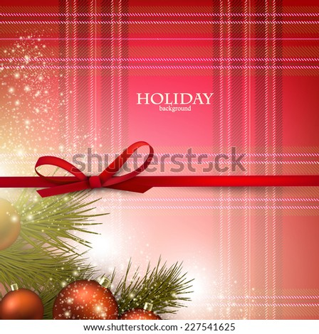 Christmas background with red bow and fir twigs garland on textured material. Vector illustration. - stock vector