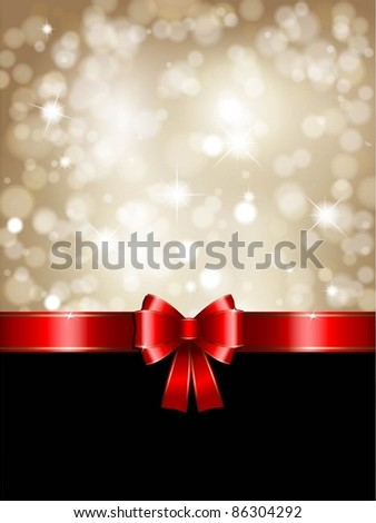 Christmas background with red bow and glittery gold theme - stock vector