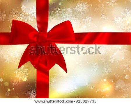 Christmas background with red bow and snowflakes. Template for design. EPS 10 vector file included