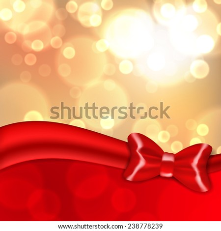Christmas background with red bow. EPS10 vector. - stock vector