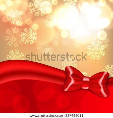 Christmas background with red bow. EPS10 vector.