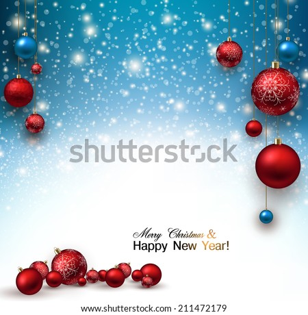Christmas background with Red christmas balls and snow for xmas design. Vector illustration. - stock vector