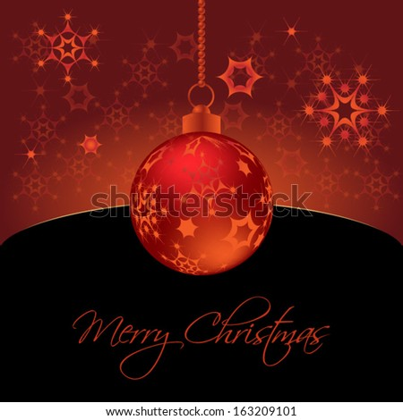 Christmas background with red christmas baubles and snowflakes.Vector eps10, illustration. - stock vector