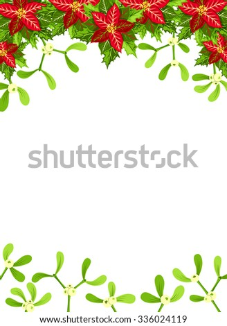 Christmas background with red poinsettia,  mistletoe and holly leaves decoration elements. Vertical banner with copy space - stock vector