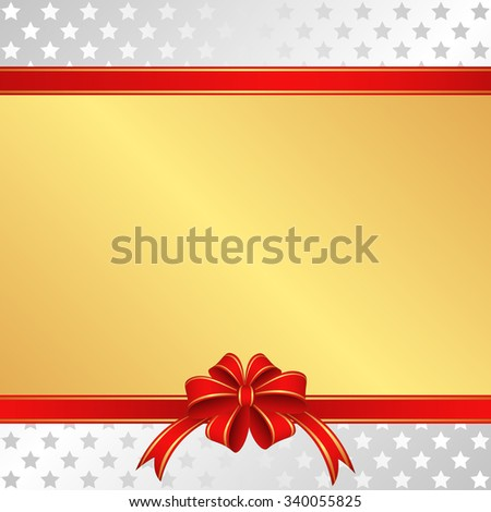 christmas background with red ribbons and stars - stock vector