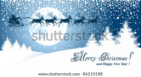 Christmas background with reindeer and Santa Claus - stock vector