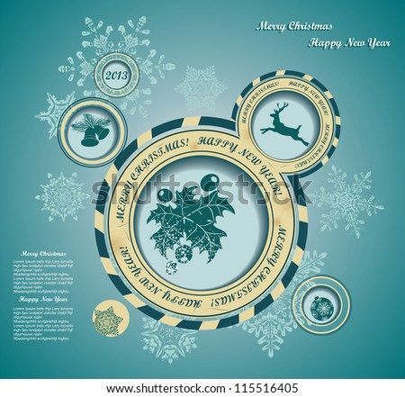 Christmas background with retro bubbles - stock vector