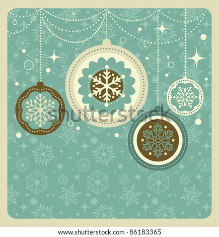 Christmas background with retro pattern - stock vector