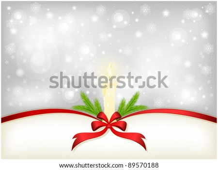 Christmas background with ribbon and burning candle fir branches