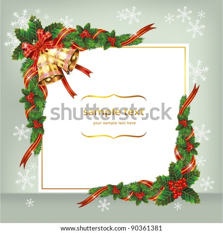 Christmas background with ribbon bells and berry. Vector - stock vector