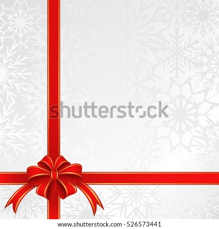 christmas background with ribbons and snowflakes