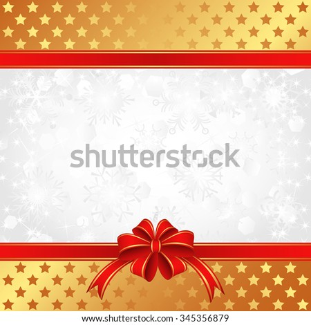 christmas background with ribbons and stars - stock vector