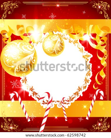 Christmas background with ribbons, balls and sweets. Floral golden frame with leafs and flowers. eps 10 - stock vector
