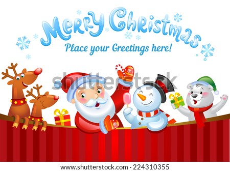 Christmas background with Santa Claus, a snowman, and other Christmas characters  - stock vector